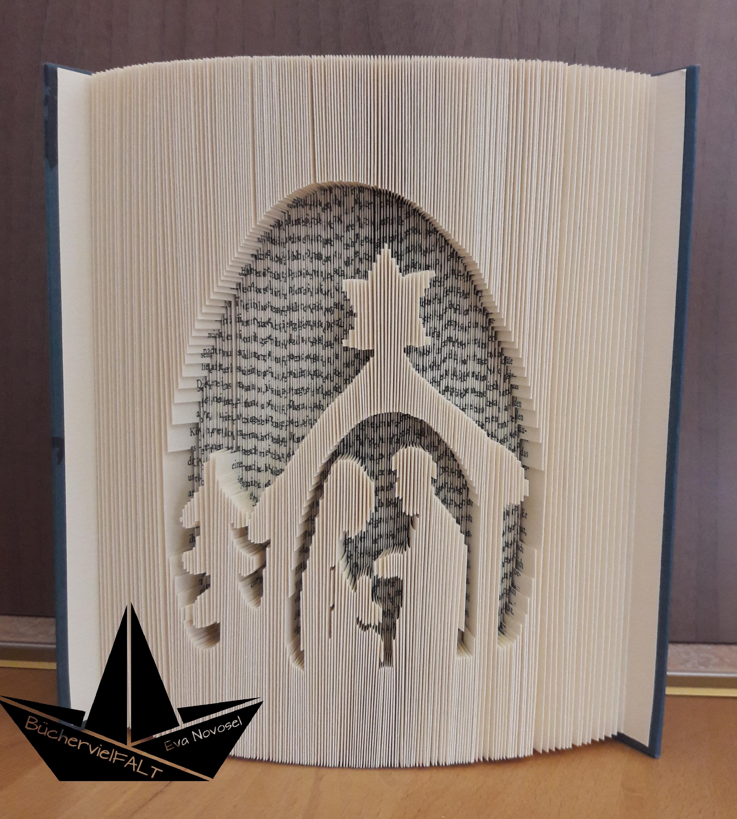 gefaltetes Buch schlichte Krippe