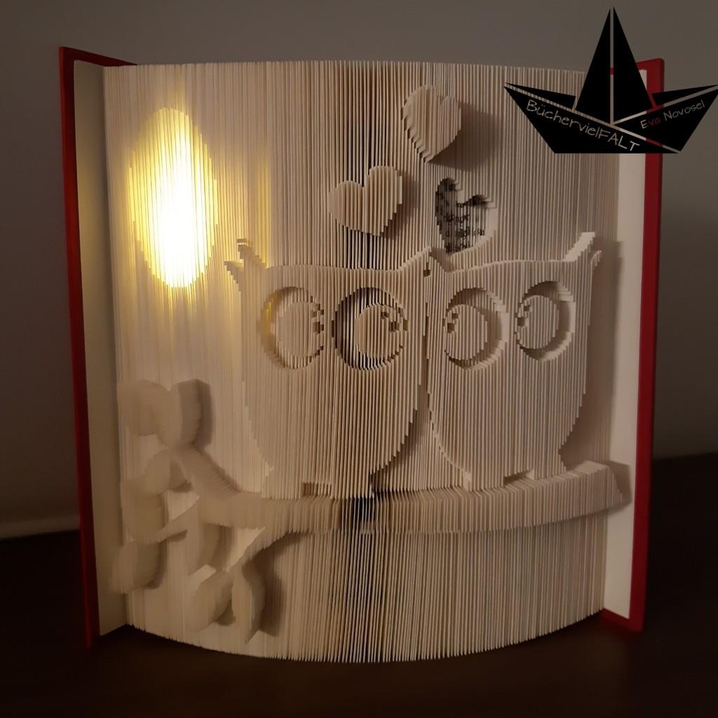 gefaltetes Buch verliebte Eulen mit leuchtendem Mond