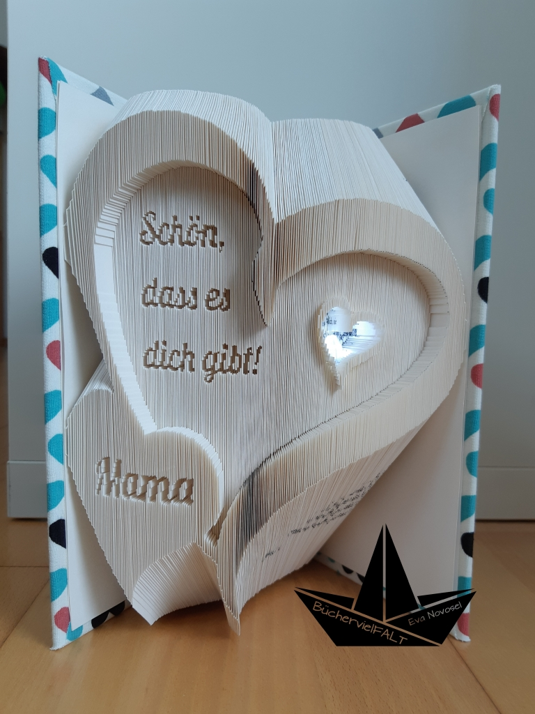Schön, dass es dich gibt - geschwungene Herzen mit LED-Licht,  Geschenk für einen lieben Menschen